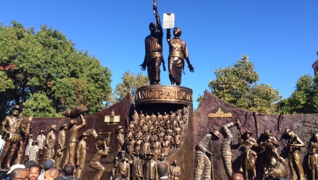 Texas' African-American History Memorial was unveiled Saturday, Nov. 19, 2016, at the Capitol in Austin.