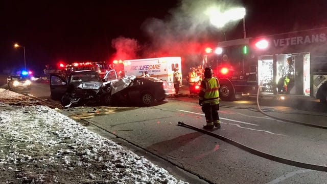 Scene of a fatal crash Tuesday morning on Hill Brady Road in the Fort Custer Industrial Park.