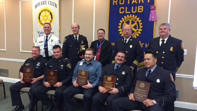 In the front row are Officer Tony Angelosanto, Officer Jeff McParland, Paramedic Scott Morell, Firefighter Dave Tabaka and Firefighter Jeff Mallari. In the second row are Chief Al Cox, Chief Tom Tiderington, HVA Vice President Andy Savage, Chief Steve Ott and Chief Chief Dan Phillips.