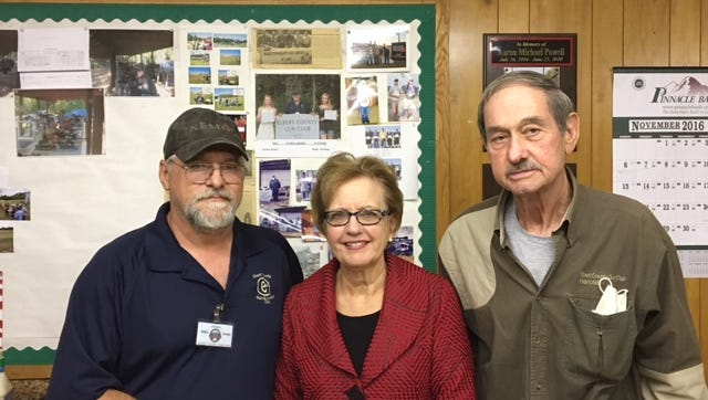 Shown from left are Elbert County Gun Club President Mike Foster; Nancy Coggins Seymour, daughter of Frank Coggins Jr. and representing Elbert Memorial Hospital; and Harold Reynolds.