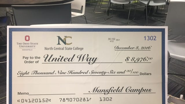 The Ohio State University at Mansfield and North Central State College donated almost $9,000 toward the local United Way of Richland County campaign.