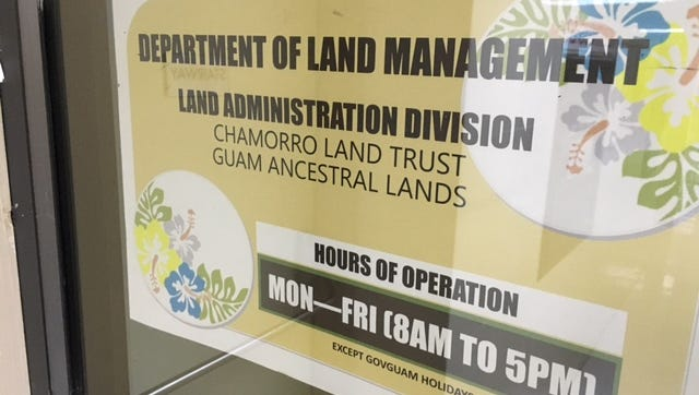 The entrance to the Chamorro Land Trust offices at the Department of Land Management's Land Administration Division at the ITC Building in Tamuning.