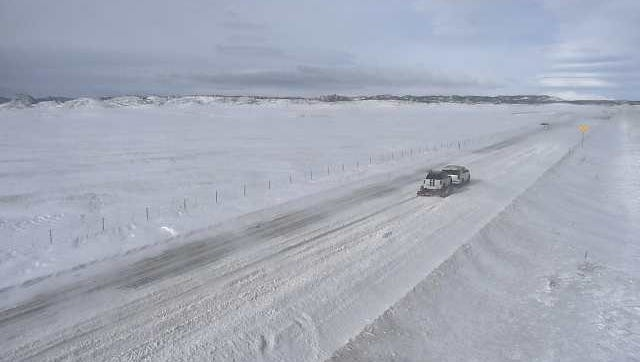 A traffic camera on U.S. Highway 287 shows the travel conditions north of Fort Collins on Sunday.