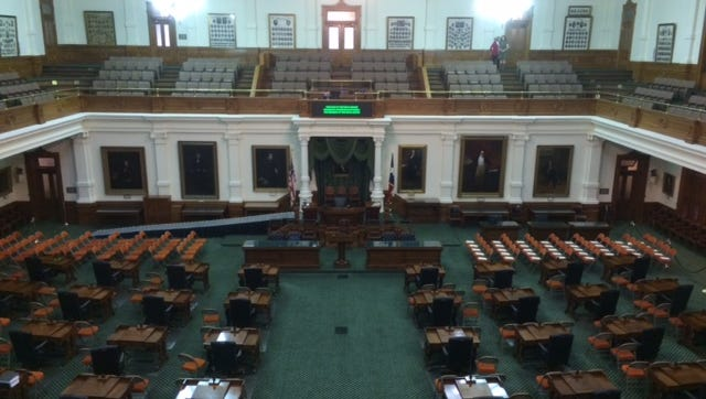The Texas Senate Chamber sits empty prior to the opening of the 2017 legislative session.