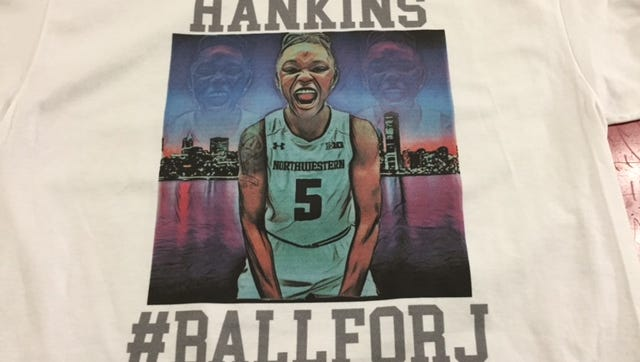 These are the T-shirts the Lawrence North girls basketball team wore for warmups Thursday night. They honor former Wildcats star Jordan Hankins, who died earlier this week.