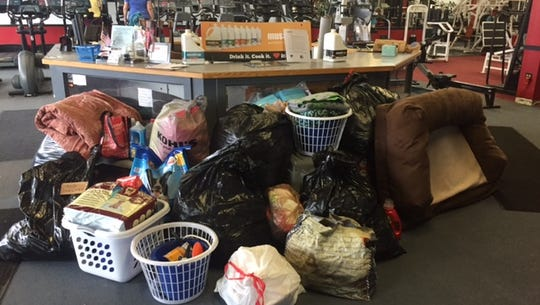 Just some of the overflow of donations from PW Fitness