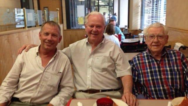 From left, Steve Lawrence, Richie Moran and John Murphy, a longtime friend of Moran.