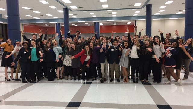 Seniors in the Blackman Collegiate Academy gathered to share poster presentations of their senior research on Jan. 23, 2017.
