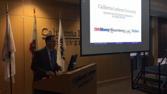 California Lutheran University economist Mathew Fienup painted a in part gloomy portrait of Ventura County's economy at a program in Thousand Oaks on Friday.