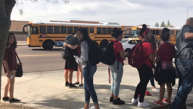 Centennial High School students were released from school at the normal time after being on lockdown all day following reports of a student with a gun Feb. 10, 2017.