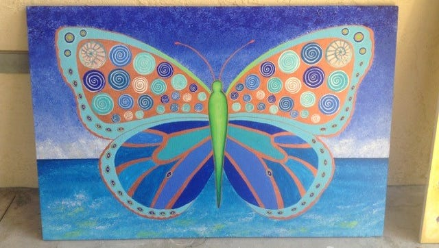"""""""Butterfly at the Beach,"""" for Cultural Arts Village. Mural artist: Annie Horkan"""