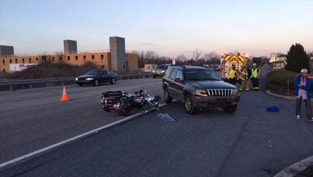 A motorcycle driver was injured when the cycle and a Jeep collided on Route 422 in North Lebanon Township near White's Harley Davidson, tying up Friday evening rush-hour traffic.
