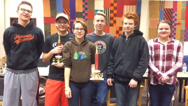 Plymouth High School Chess Club members Ty Brink, Chase Jasinski, Anna Brink, Christian Pieper and Avi Charlton-Diesch competed at the Acuity Chess Tournament
