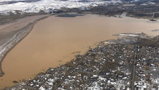 An aerial image of flooding in Lemmon Valley in late winter 2017.