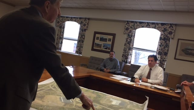 Attorney George Christianson explains details of Vision Group Ventures' warehouse project to the Lebanon County Commissioners