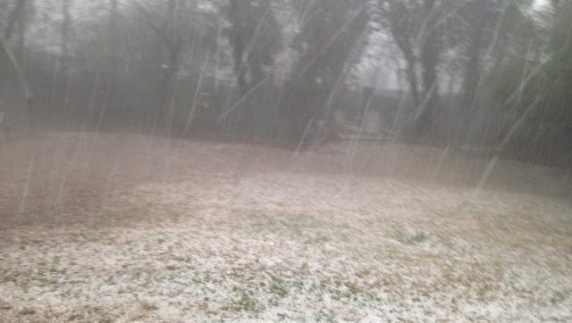 Photo taken during large hail storm in Greenville County on Tuesday, March 21, 2017.