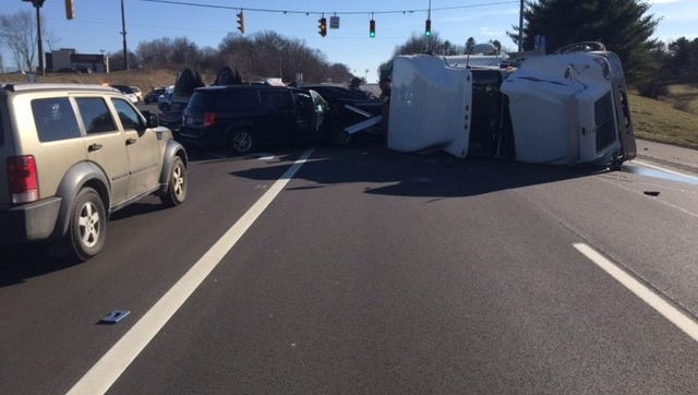 A truck rollover closed Ohio 13 in both directions Thursday, March 23, 2017.