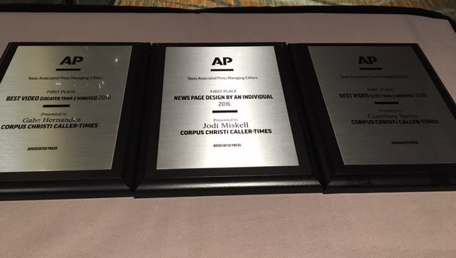 Photographers Gabe Hernandez and Courtney Sacco along with designer Jodi Miskell had first place wins on Saturday for Texas APME. In all, the Caller-Times and its staff won 20 awards on the first day of the APME conference.