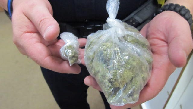 Huntingdon police found about 52 grams of marijuana in a vehicle Tuesday afternoon.