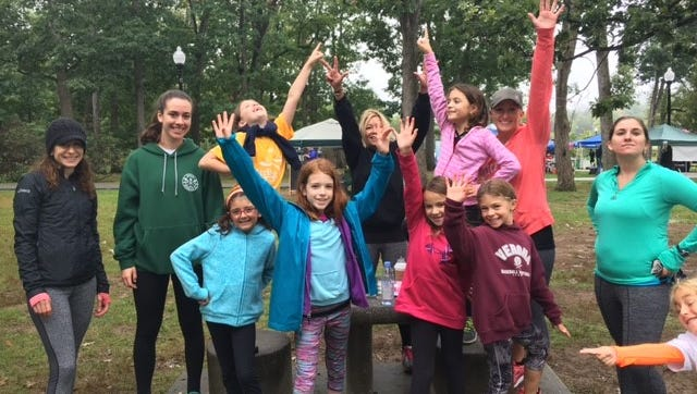 Girls on the Run members meet up at Verona Park in the autumn of 2016.