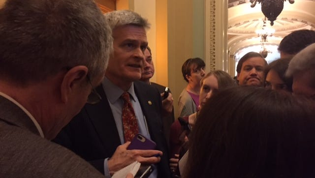 Sen. Bill Cassidy, R-La., talks to reporters in the Capitol last week about his bill to replace the Affordable Care Act.