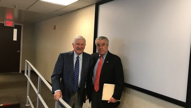 Joseph Buckelew, left, and Armando Fontoura are two remaining NJSEA board members who voted to approve Meadowlands Xanadu in 2003.