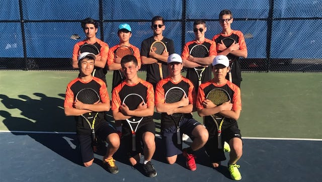 Tenafly boys tennis: top row (from left) Armen Kasparian, Jay Choi, Ethan Schiffman, Max Gottlich, Daniel Kantor; bottom (from left) Yohan Shin, Marc Balderacchi, David Topchisvili and Kevin Kim.