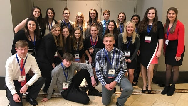 Twenty Calico Rock FBLA members attended the State FBLA  Leadership Convention and competitions in April at Little Rock, with their adviser, April Killian and chaperone, Melva Brannon. These students competed in various business events. Shown are from left in the back row, Hannah Davis, Emma Mitchell, Jaclyn Hamby, Megan Hiles, Skilar Sherrill, Joe Grigg, Chase Cottrell, Julisa Mendez; Middle row, Camron Holowell, Sydney Brown, Kallie Fry, Kenlee Killian, Madison Deen, Makayla Simmons, Abby Humphries, Chase Fountain; and front, Coburn Cox, Kaleb Newcomb, and Hunter Johnson.