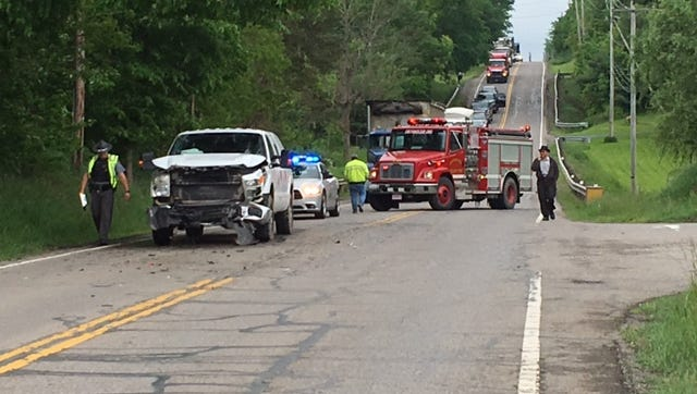 A two-vehicle crash Friday on Ohio 13 at Bricker Road has Ohio 13 temporarily shutdown in both directions.