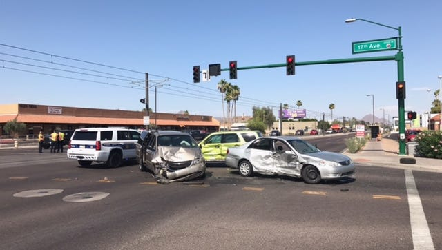 Two women and two children were taken to hospitals following a three-car collision at 17th Avenue and Camelback Road on June 2, 2017. The two women, one of whom was pregnant, were said to have life threatening injuries.