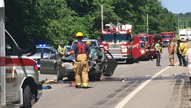 Three people suffered non-life threatening injuries Friday in a head-on crash on U.S. 42, according to the Mansfield post of the Highway Patrol.