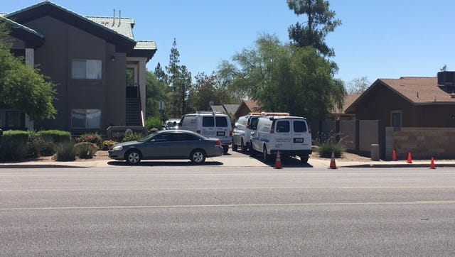 Mesa police are investigating the death of a woman and injury of a man following a shooting at an apartment complex near Lindsay and Broadway roads June 16, 2017.