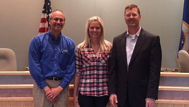 Mike Phillips, BankVista Vice President/Senior Lending Officer; Sartell Mayor Sarah Jane Nicoll; Stefan Freeman, BankVista President.