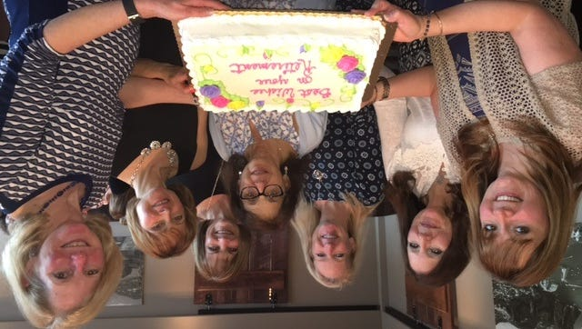 Retiring staff members (from left) Cynthia Dennis, Dianna Barkman, Jeanne Rutledge, Marie Potenta, Patricia Loughlin, Beverly Lax and Cynthia Fillebrown. Not pictured: Steffi-Jo DeCasas.