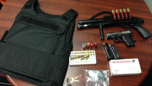 A sawed-off shotgun, body armor, ammunition and drugs were confiscated in Desert Hot Springs, police said. A suspect was arrested.