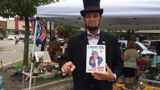 Abraham Lincoln will visit the Farmington farmers market Saturday.