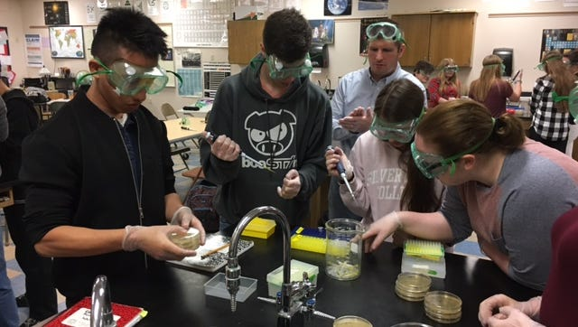 Lincoln High School students participate in a three-day microbiology experiment led by Dan Bretl from the Medical College of Wisconsin in Milwaukee.