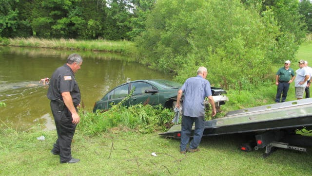 Kee's wrecker service in Huntingdon pulled the vehicle from the pond.