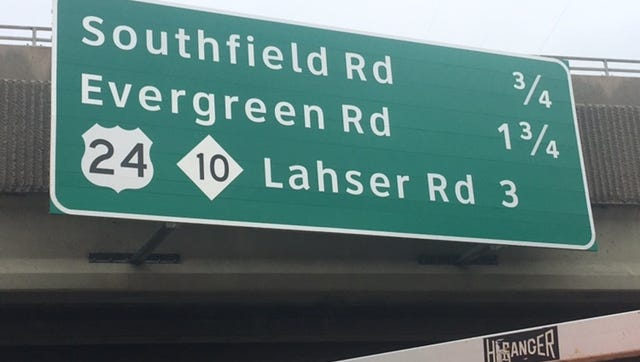 Here's the corrected sign that work crews quickly edited above westbound I-696 this morning. The original version incorrectly informed drivers they were approaching M-53 Van Dyke instead of M-10 Lodge Freeway.