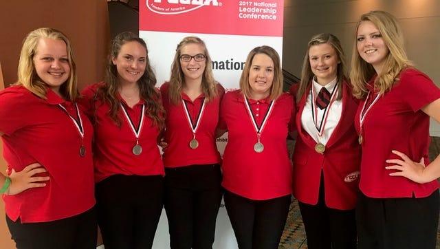 Left to right are award-winning Hunterdon County Polytech students Caroline Ratanski, Jess Barosi, Jessica Rountree, Kara Kitchen, Emily Brigham and Madison Trevaskiss at the FCCLA National Leadership Conference.