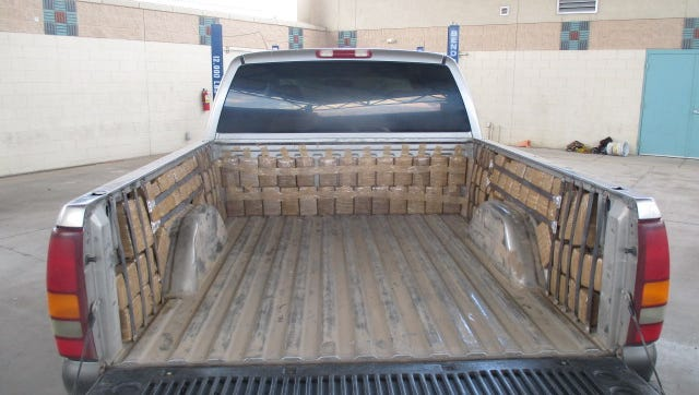 U.S. Customs and Border Protection officers seized 310 pounds of marijuana from this truck at the Paso del Norte bridge on Saturday.