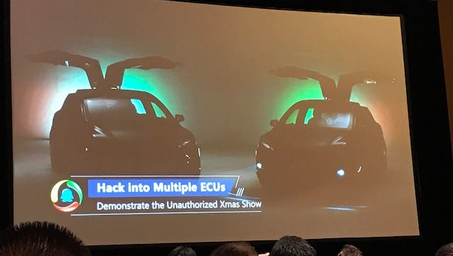 "A slide showing the ""Unauthorized Xmas Show"" hack that allowed a group of Chinese researchers from Tencent to remotely open the doors and trunk of a Tesla X, and blink the lights in time to music sent out through the car's sound system."