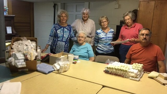 Volunteers, pictured from let to right are Mattie Sheline, Anna Forquer, Joan Miller, Shirley Jadwin, Evelyn Palmer, and Larry Pinkstock.