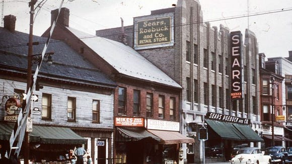 The year was 1964, and this was an place in that era that was restored, the Golden Plough Tavern on West Market Street, left. Preservationists had found half-timber construction that dated the building back to about the time of York's founding in 1741. This was York's original Sears location. The store later became the anchor of the York area's first suburban retail plaza, the York County Shopping Center in the mid-1950s and later moved to its current home at the Galleria in the late 1980s.