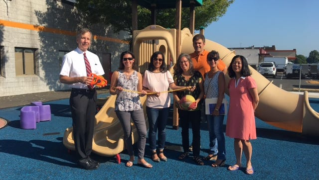 Manville Mayor Richard M. Onderko visits the site of what will be a new outdoor sensory classroom given by the Leadership Somerset Class of 2017 to the Jerry Davis Center for Children and Families with members of the group, Carrie Springer, Nandini Dutta, Director of The Jerry Davis Center for Children and Families Jill Glassman, Joseph Esposito, Fabiola Rodriguez and Jean Trujillo.