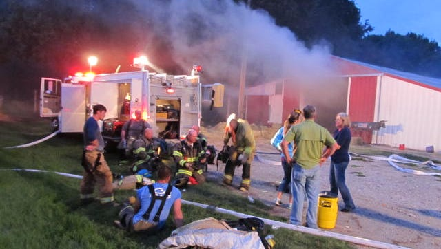 Hay caught fire in a barn in Huntingdon Monday evening.