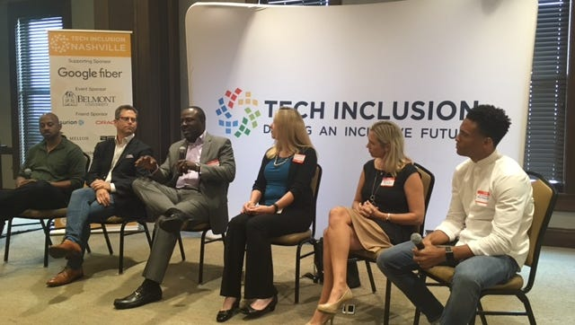 Marcus Shaw, director of Company Lab in Chattanooga, speaks at Tech Inclusion conference at Belmont University in Nashville