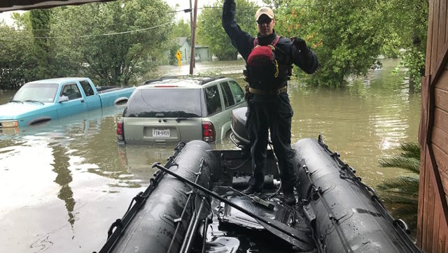 Kentucky Air National Guardsmen conduct water rescue missions in Port Arthur, Texas, Aug. 30, 2017, in the wake of Hurricane Harvey. The Airmen, assigned to the 123rd Special Tactics Squadron, are patrolling the area in motorboats, looking for people who are trapped in their homes or on rooftops because of the massive flooding. Once the residents are safely in the boats, the Airmen provide any necessary medical care and transport them to the nearest shelter. (U.S. Air National Guard photo)