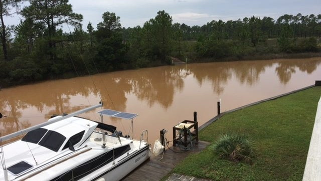 Indian Bayou is seen on Aug. 30, 2017, after a significant rain that left the bayou water discolored.