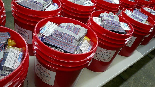 First United Methodist Church members hope to send 500 buckets with relief supplies to the victims of Hurricane Harvey.